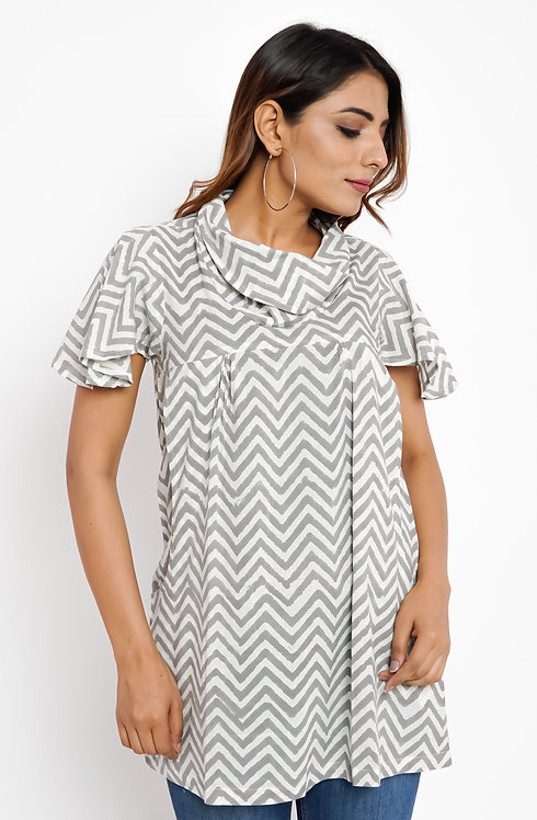 HunarWE Grey & White ZigZag Striped Cowl Neck Top