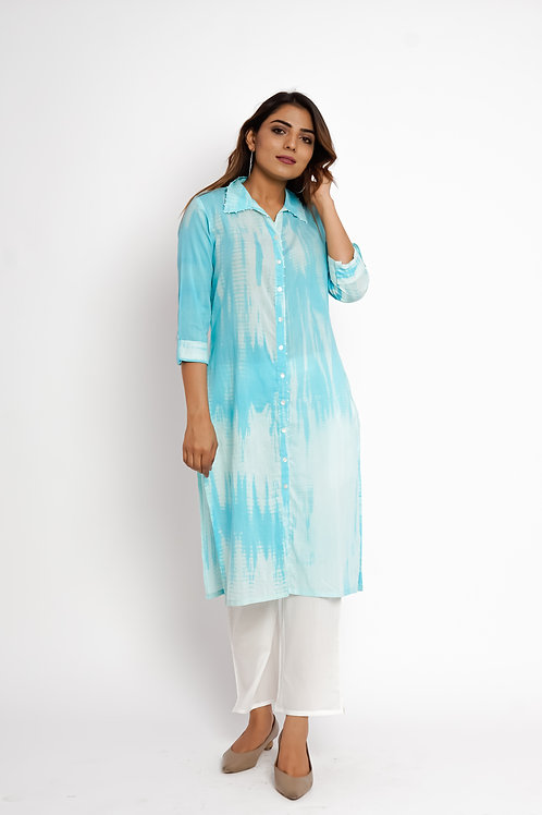 HunarWE Sky Blue Abstract Printed Kurta With Solid White Pants