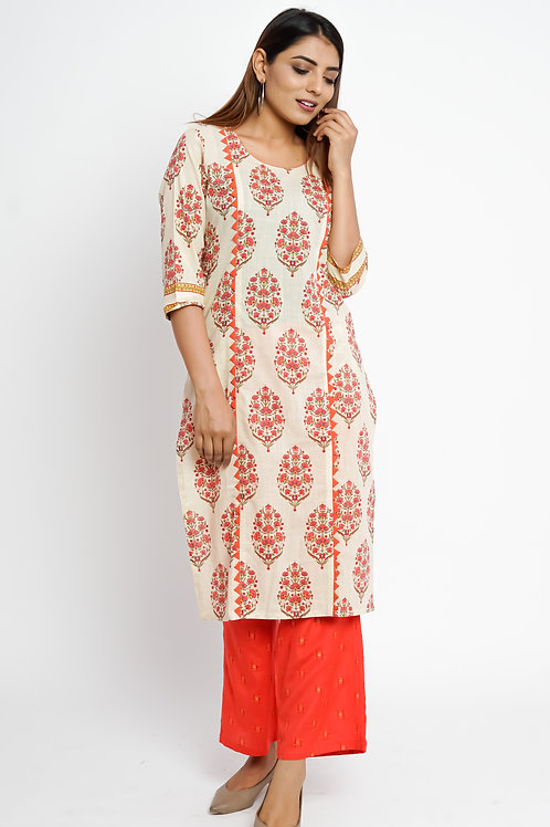 HunarWE Off White Red Floral Kurta With Red Palazzos