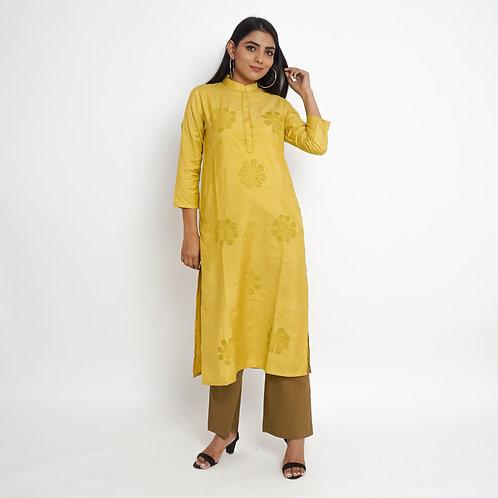 HunarWE Mustard Yellow Silk Kurta