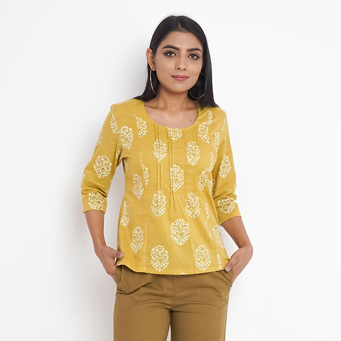 HunarWE Mustard Yellow Floral Handblock Print Round Neck Cotton Top