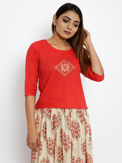HunarWE Red Abstract Embroidered Top