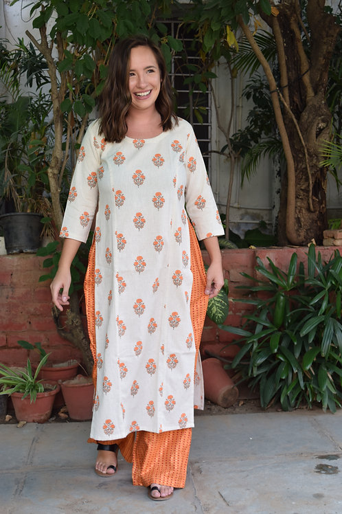 HunarWE Off White Floral Kurta With Orange Printed Palazzos