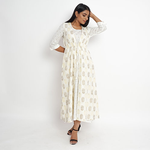 HunarWE White Golden Floral Handblock Print Cotton Double Dress