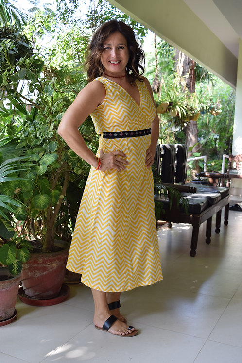 HunarWE Yellow ZigZag Striped Dress