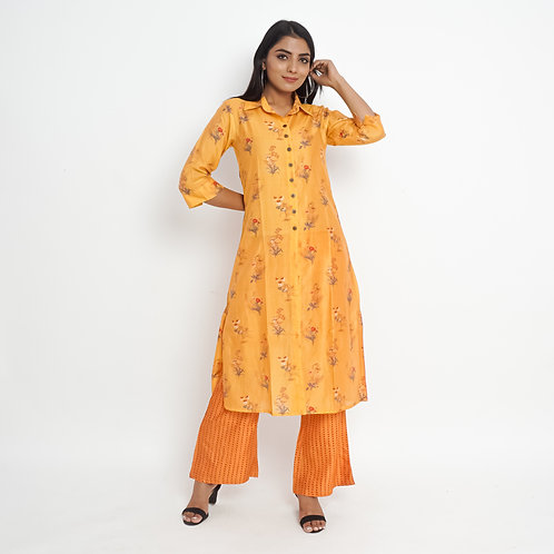 HunarWE  Orange Yellow Floral Muslin Silk Kurta With Orange Embroidered Palazzos