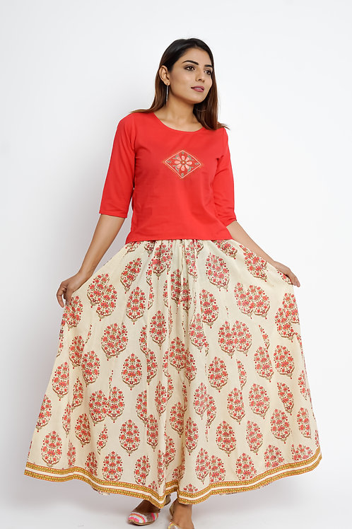 HunarWE Red Abstract Embroidered Top With Off White Floral Printed Skirt