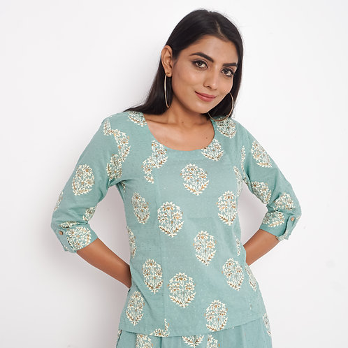 HunarWE Pastel Green Floral Handblock Print Round Neck Cotton Top