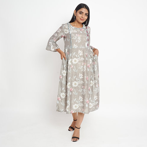 HunarWE Dim Grey Floral Print High Waist Muslin Silk Maxi Dress