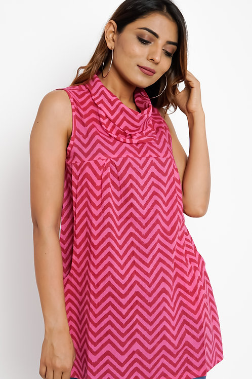 HunarWE Red & Pink ZigZag Striped Cowl Neck Top