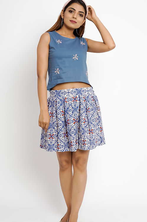 HunarWE Blue Seamless Printed Skirt
