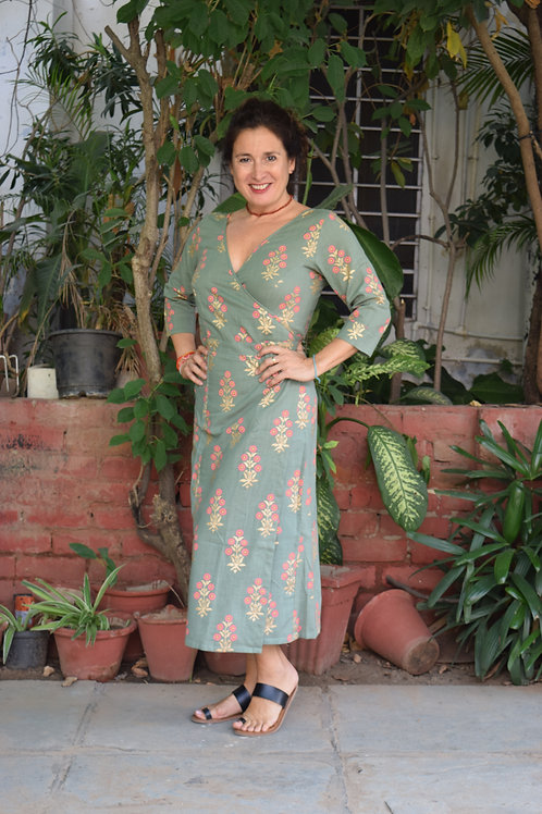 HunarWE Green Floral Khadi Print Wrap Around Dress