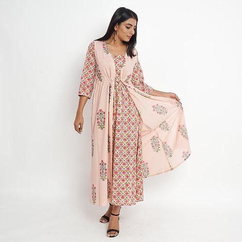 HunarWE Peach Floral Handblock Print Cotton Double Dress