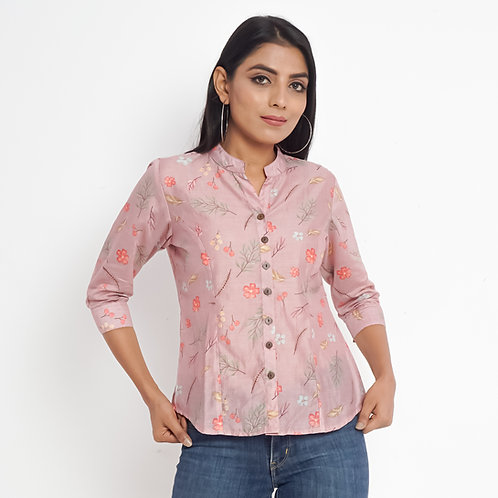 HunarWE Pastel Pink Floral Print Mandarin Collar Muslin Silk Top