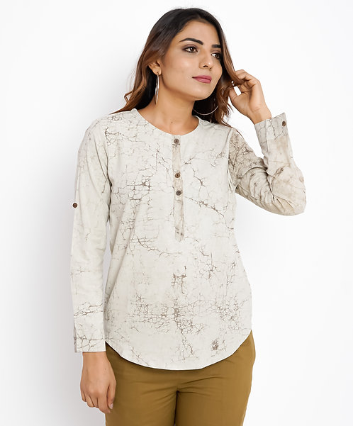 HunarWE Off White Abstract Cotton Top