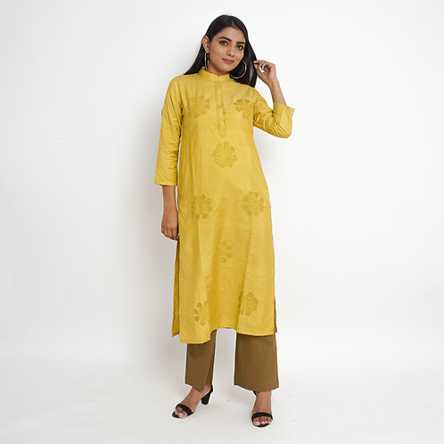 HunarWE Mustard Yellow Silk Kurta With Solid Mustard Pants