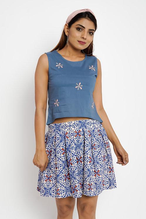 HunarWE Blue Floral Embroidered Top