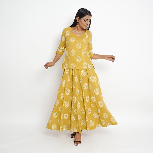 HunarWE Mustard Yellow Floral Handblock Print Cotton Top & Skirt Set