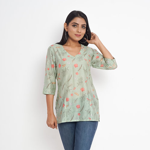 HunarWE Pastel Green Floral Print Beaded Muslin Silk Top