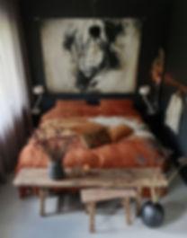 small bedroom burnt orange wabisabi vibe