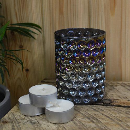 Iridescent Honeycomb Smoke Glass Tealight Holder