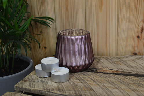 Pink Ridged Glass Candle Holder