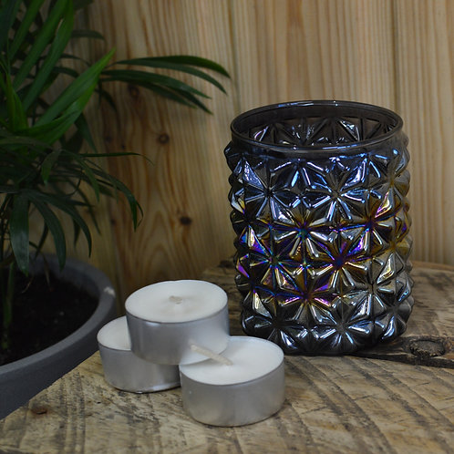 Iridescent Star Smoke Glass Tealight Holder