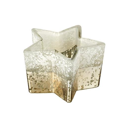 Mottled Glass Star T-Light Holder