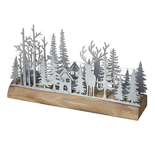 Metal Forest Scene Tlight Holder