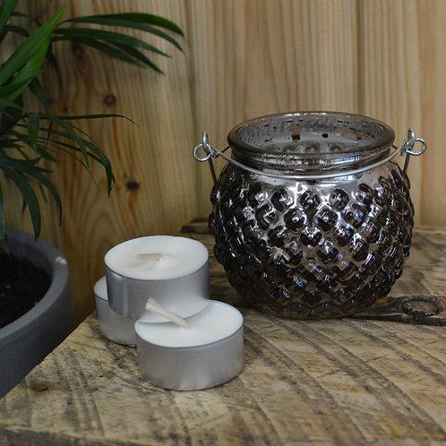 Smoke Grey Ridged Tealight Holder