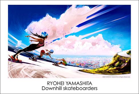 ジクレーポスター【Downhill Skateboarders】