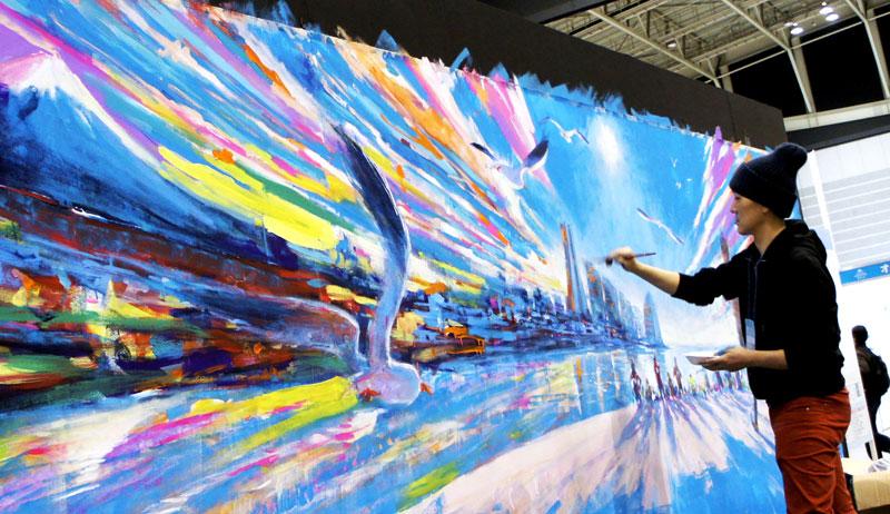 横浜マラソン応援アート