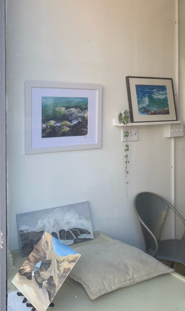 small oils by Maura Glandorf and Mary Jennings, watercolor by Ching Lai, and giclee print by Garrow Throop