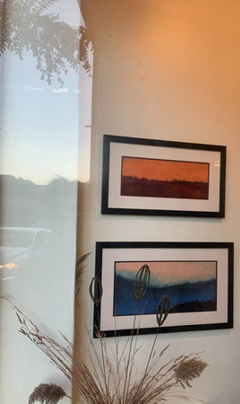 two acrylic paintings by Richard Pawlak South Cape Scape 2 Blue River
