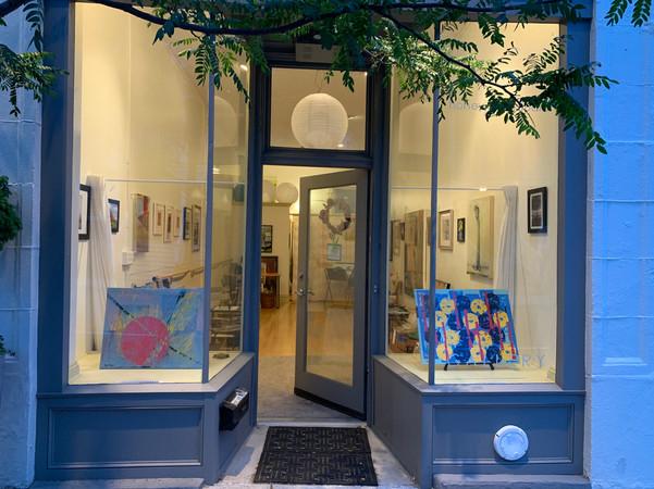 Two of June Moon artist Stephen Bergeron's enamel and acrylic paintings...