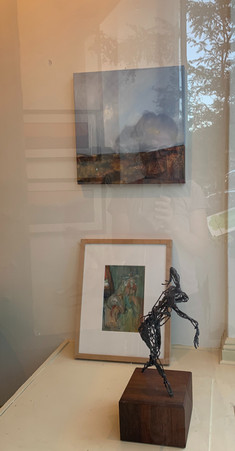 on wall, Split Second, oil on canvas, Tanya Hayes Lee leaning, Soulful, Sirarpi H. Walzer, and mid-century bronze sculpture by as of yet unknown artist