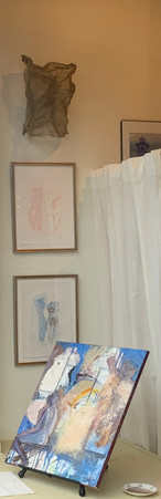 Frank Capezzera's Bather, Bear, and Yellow Spark, with two of Joanne Simon's monotypes from her Love Eternal Series, and Enmeshed in Love, wire sculptural piece (Joanne)