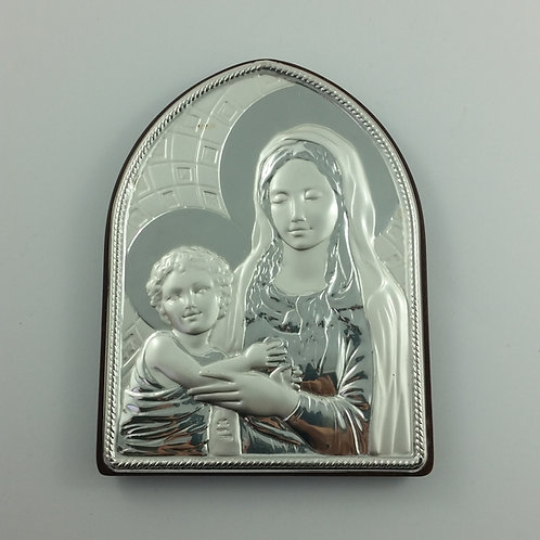 1970 Vintage Italian Sterling Silver Madonna & Child on Plaque