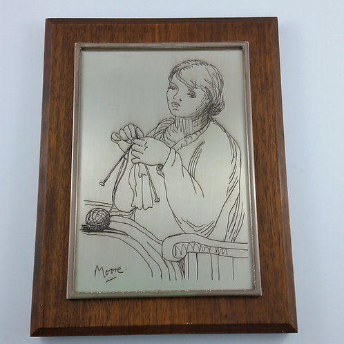 """Franklin Mint Etching of """"Woman Knitting"""" by Henry Moore Solid Silver 321/1000"""