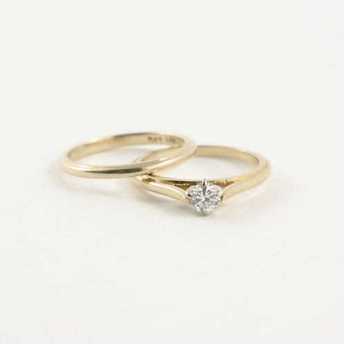 14K Diamond Engagement Ring and Wedding Band Set