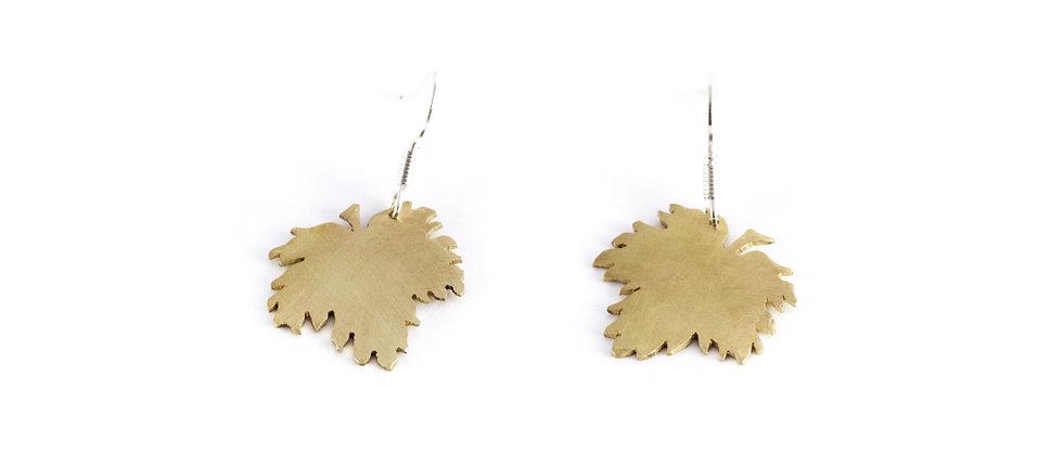 kolczyki wiszące złote liście klonu