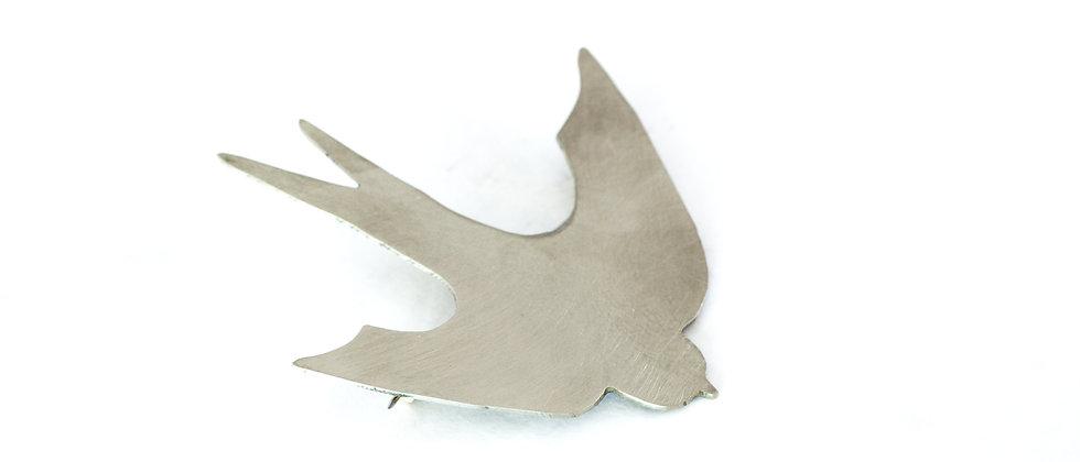 Broszka srebrna jaskółka