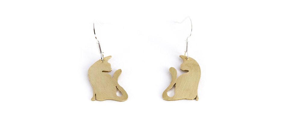 Kolczyki wiszące złote koty