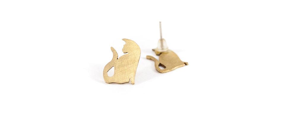Kolczyki sztyfty złote koty