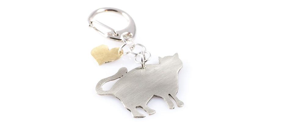 Brelok ze srebrnym kotem