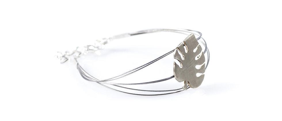 Bransoletka srebrny liść monstery