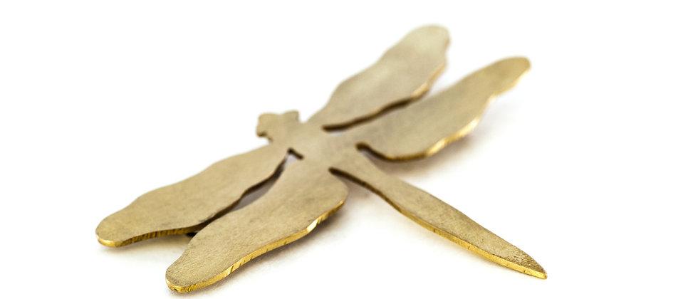 Broszka duża złota ważka