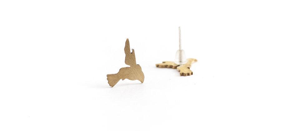 Kolczyki sztyfty złote kolibry