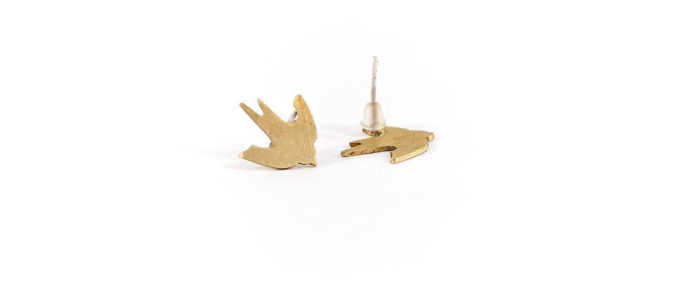 Kolczyki sztyfty złote jaskółki