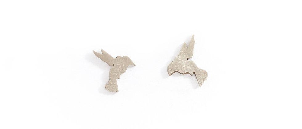 Kolczyki sztyfty srebrne kolibry